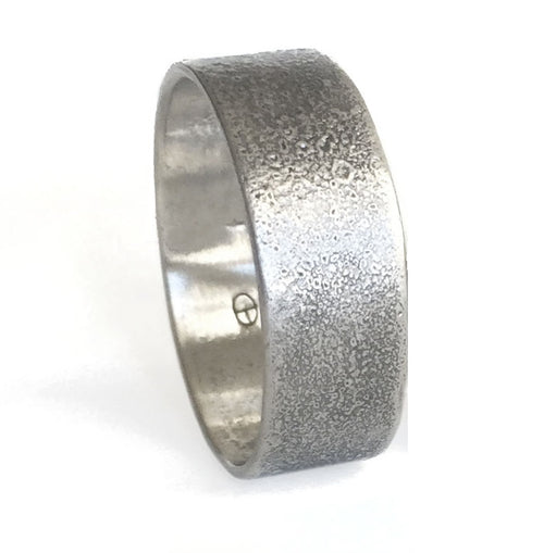 Reticulated Lightly Oxidized Silver Ring