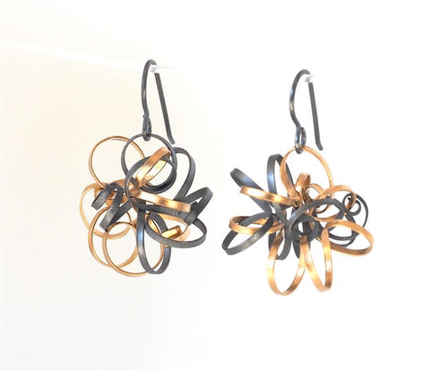 Ribbon Cluster Earrings with Short Silver Wires