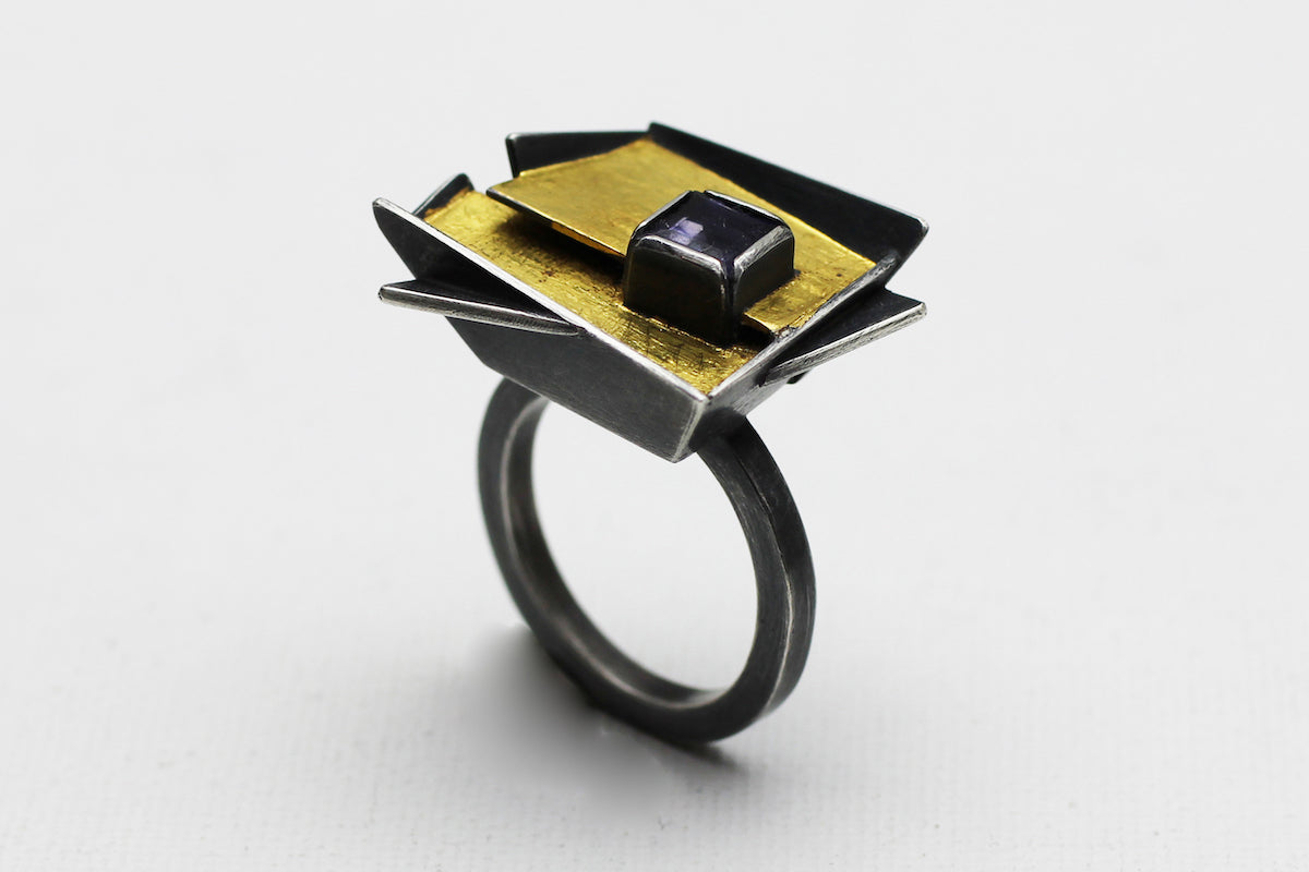 Geometric Shape Yellow and Blue Flower Ring in Silver And Gold With Iolite
