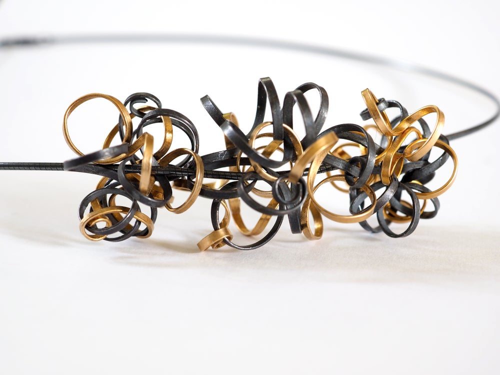 Ribbon Cluster Necklace with 3 Spheres