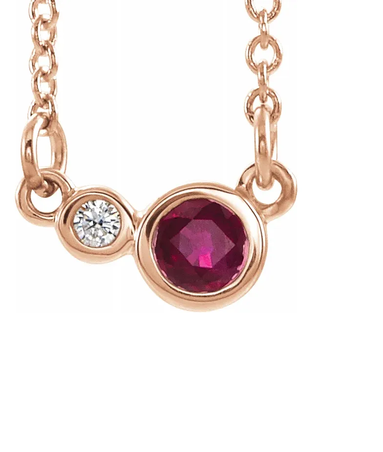 14k Gold 3mm Ruby and Diamond Necklace