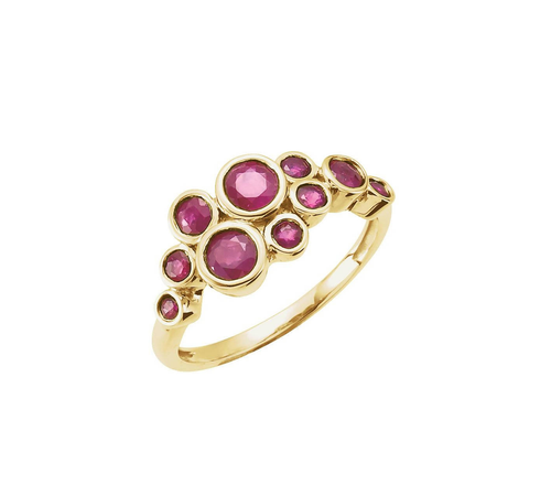 14K Yellow Bezel-set Ruby Cluster Ring