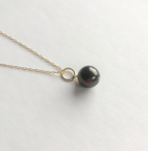Stellar pendant with Tahitian Pearl and 14k Gold Chain