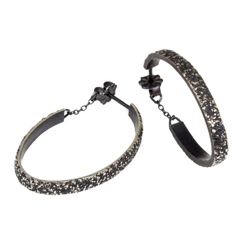 Small Oval Sand Hoop Earrings in oxidized silver