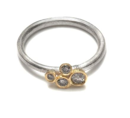 Silver Cluster Ring with Grey Diamonds set in 18k Gold