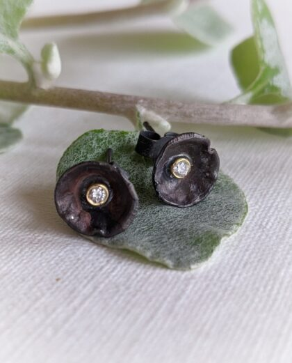 Oxidized Acorn Cup Studs with Diamonds in Sterling Silver, 18ct Gold and Diamonds