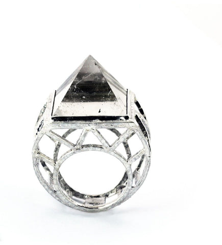 Rock Cage Large Round Quartz Ring