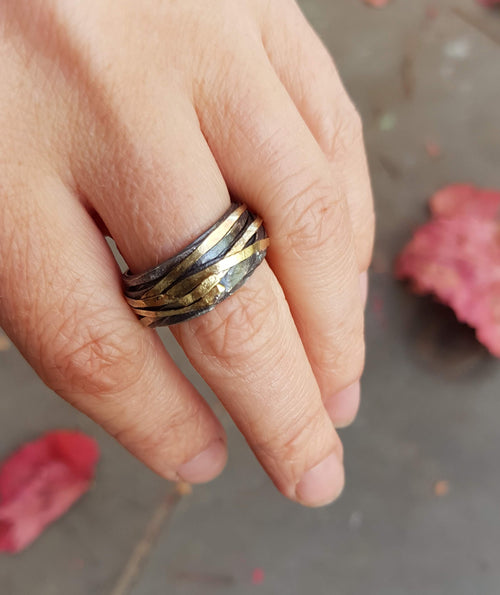 Oxidised gold and silver wrap ring