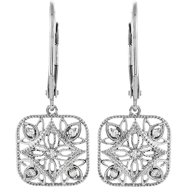 Vintage Inspried Sterling Silver 1/10 Diamond Accented Lever Back Earrings
