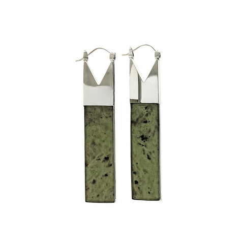 Angled Tube Post Earrings in 18k Yellow Gold with natural green sapphire