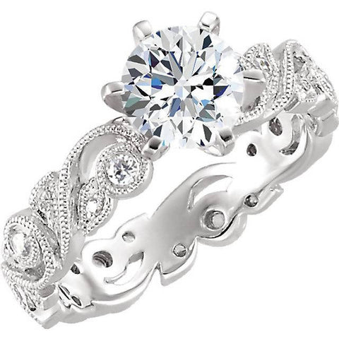 18k White Gold Paisley Diamond Ring