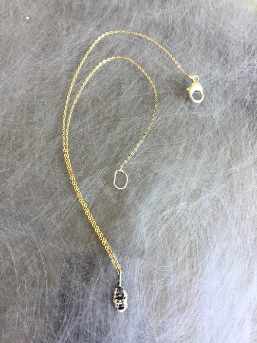 Talisman neckpiece with 18k vermeil chain and distressed textured sterling pendant