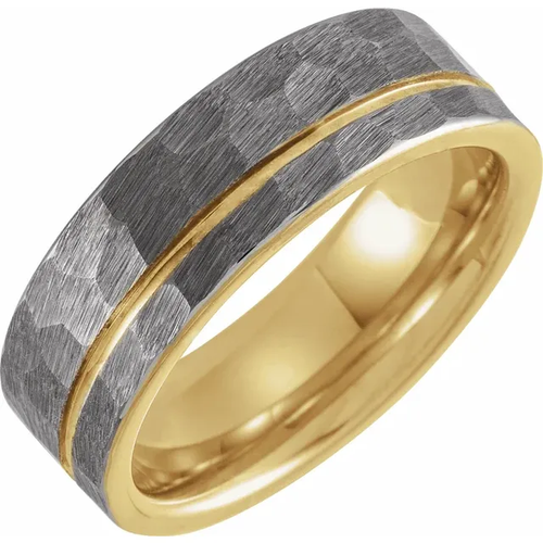 18K Yellow Gold PVD 8mm Hammered Textured Grooved Tungsten Band