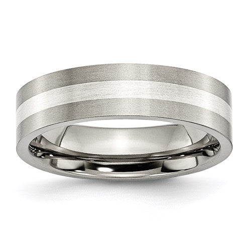 Titanium Sterling Silver Inlay Flat 6mm Brushed Band
