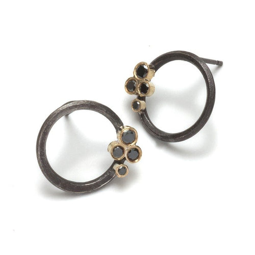 Oxidized Hoop Studs and Diamonds Cluster Earrings