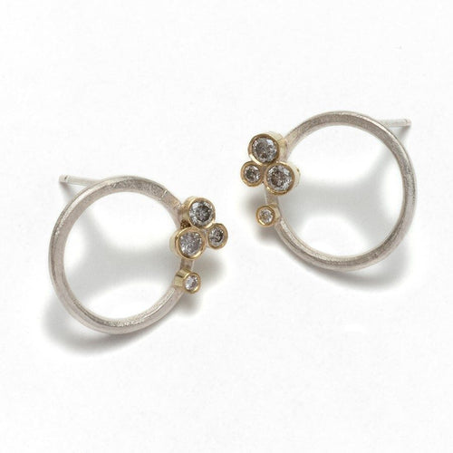 Silver Hoop studs and Grey Diamond Cluster Earrings