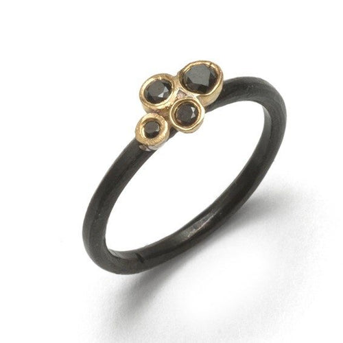 oxidized cluster ring + black diamonds