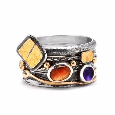 Sculptural Ring with Garnet