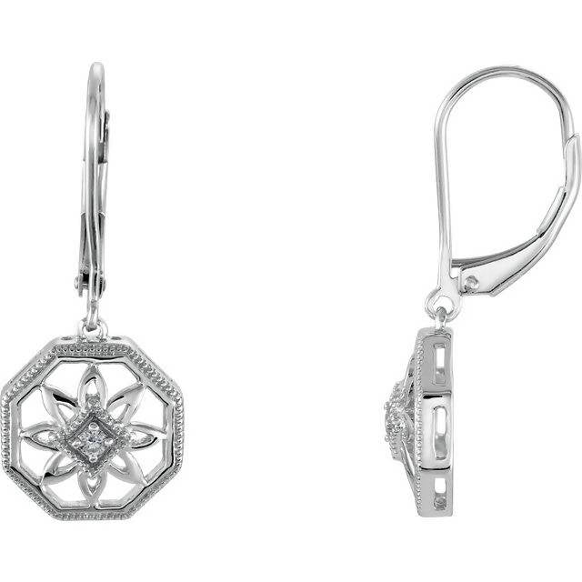 Vintage Inspired Sterling Silver .04 CTW Diamond Lever Back Earrings