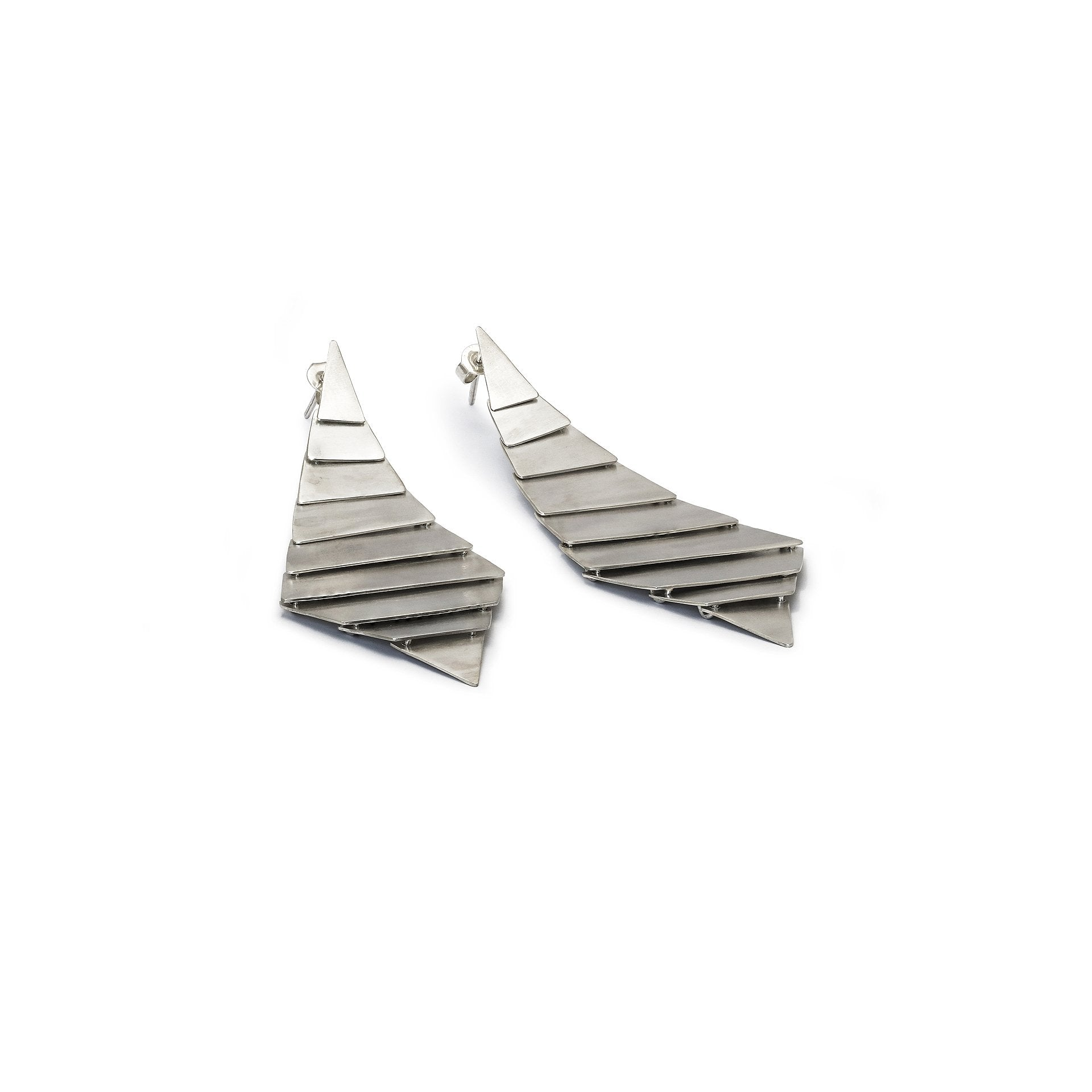 Wind Wave Silver Modern Earrings
