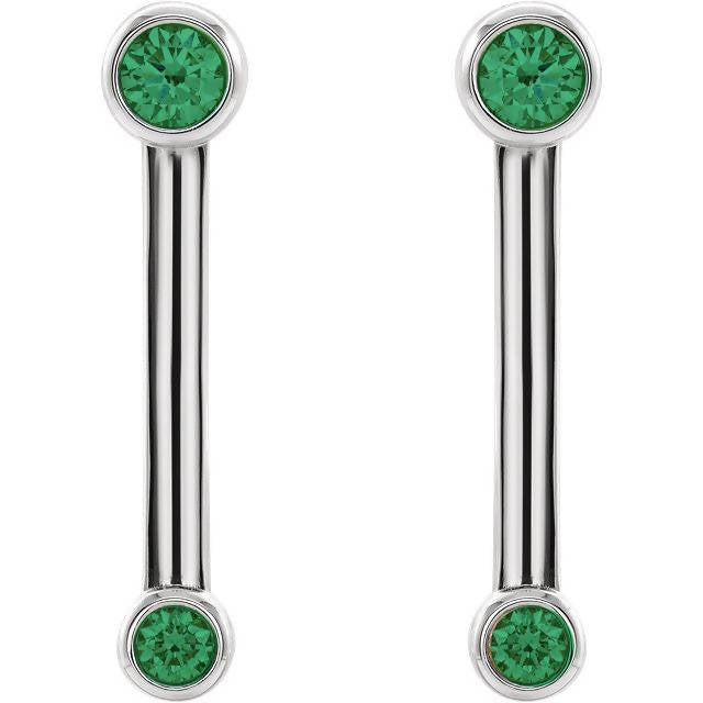 14K Gold Diamond Bezel-Set Bar Earrings