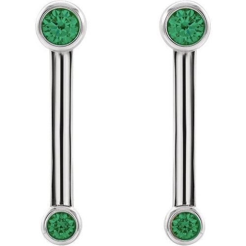 14K Gold Double Bezel-Set Bar Earrings