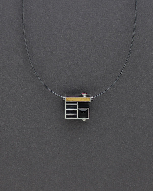 Sculptural and Geometric Cube with Black Onlyx, Tourmaline and Gold Accents Necklace