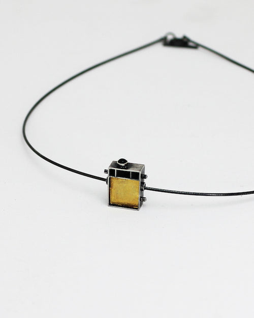 Geometric Cube with Gold and Tourmaline Accents Necklace