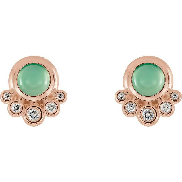 14k Gold Chrysoprase and Diamond Earrings