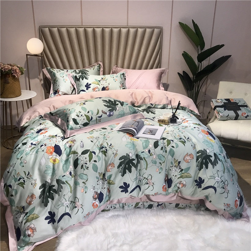 Luxury Silk Premium Prints Bedding Set