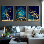 Golden Butterfly and Fish Modern Canvas wall poster