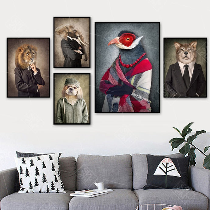 Lion Dog Elephant Bird Wolf Wall Art Canvas Painting Nordic Posters