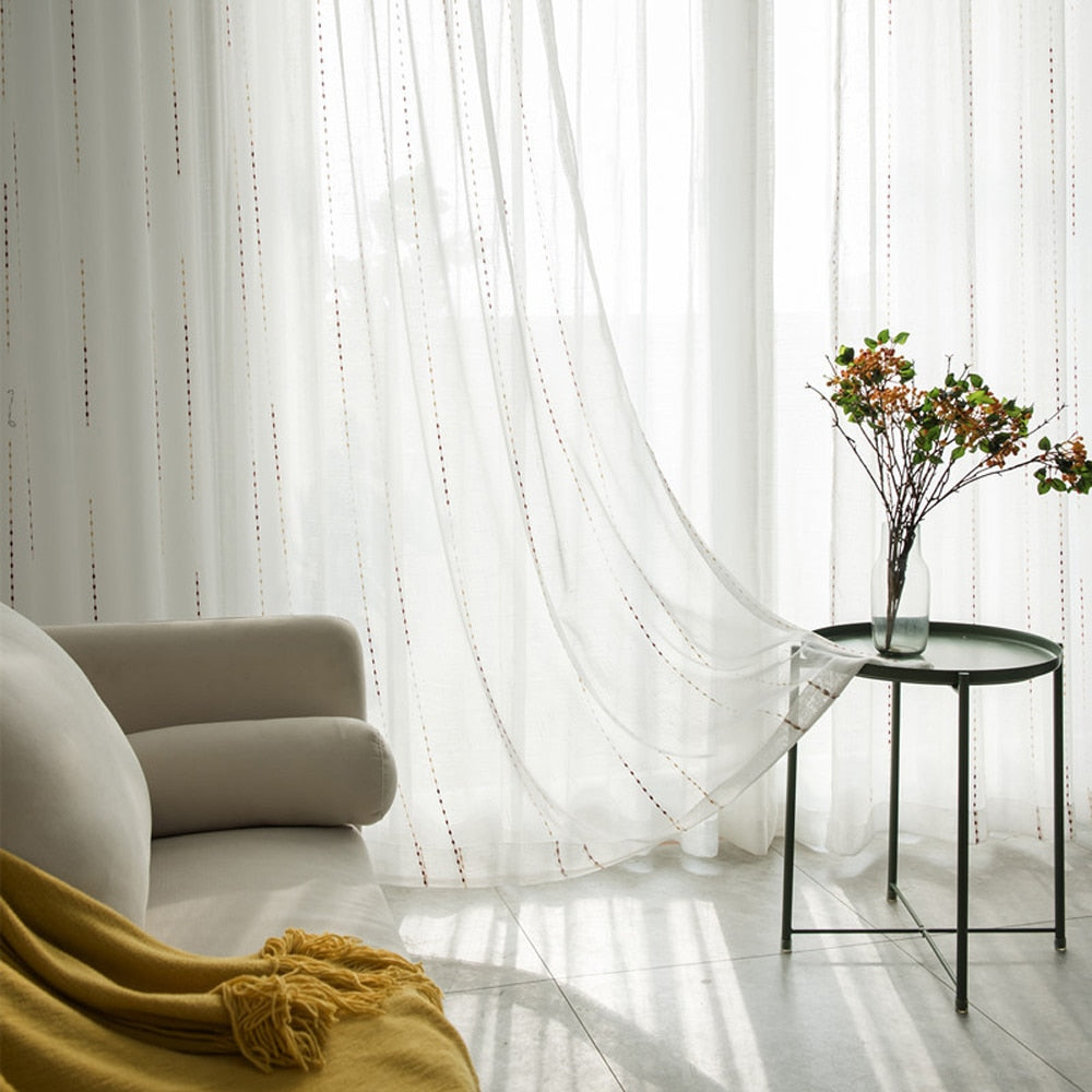 Modern Striped Tulle Curtains For Living Room