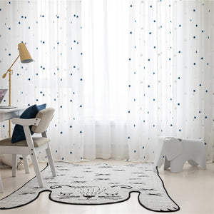 Archi Embroidered Stars White Sheer Curtains for Living Room - Country Home Decor ideas and Modern Interior Curtains