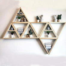 Natural Wood Geometric Wall Shelf