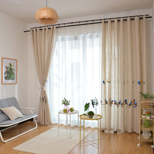Archi Bird Design Embroidered Curtains for Living Room - Apartment Interior Ideas and Vintage Curtains for Windows