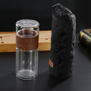 Glass Tea Water Bottle With Bag