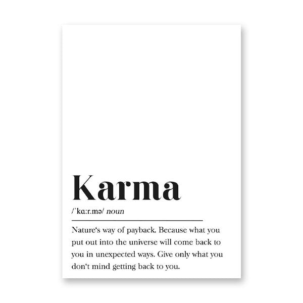 Archi Karma Definition Typography Poster - Exquisite Home Interiors