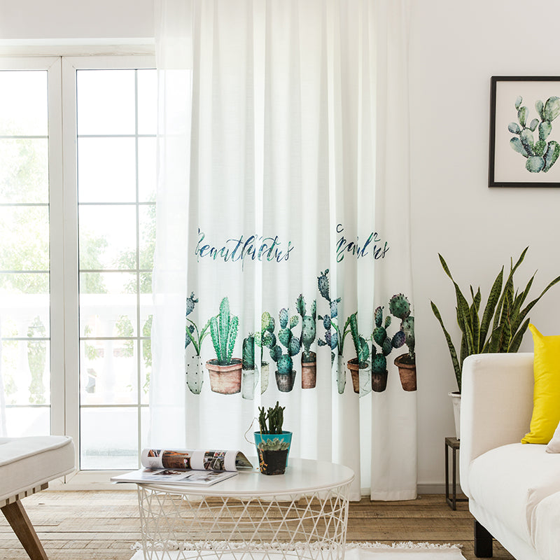 Archi Green Plant Embroidered White Curtains For Living Room Country With Love Archipelago