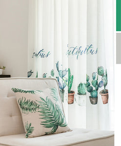 Archi Green Plant Embroidered white curtains for Living Room - Country Home Decor ideas and Modern Interior Curtains
