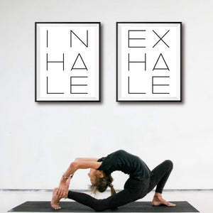 Inhale Exhale Typography Print Minimalist Poster - Modern Home Living