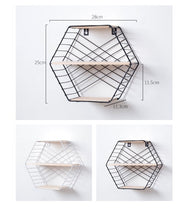 Elegant Hexagon Grid Wall Shelf - Premium Home Interiors