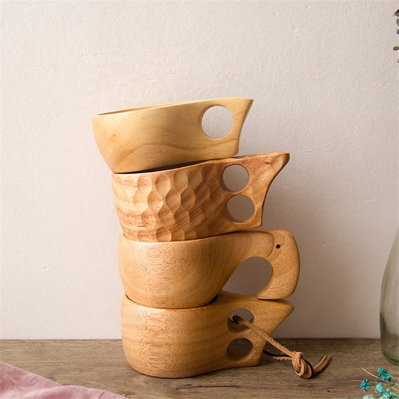 Handmade Portable wooden tea mugs for exquisite home interiors
