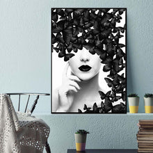 Black Women with Butterfly Abstract Canvas Wall Art Poster