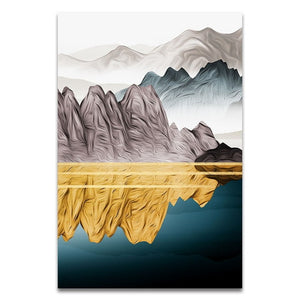 Chinese Landscape Abstract Golden canvas wall art poster