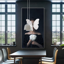 Women with Butterfly Abstract Canvas wall art poster