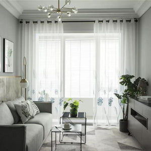 Banana leaf Embroidered Tulle Curtains For Living Room