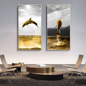 Large Golden Dolphin Abstract Canvas Wall Poster