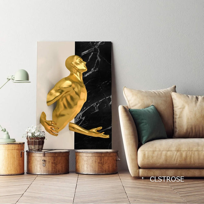 Abstract Golden Statue Canvas Wall Art Poster