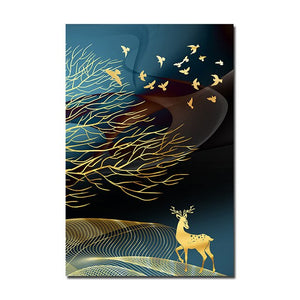 Abstract Golden Deer wall art canvas poster #art #poster